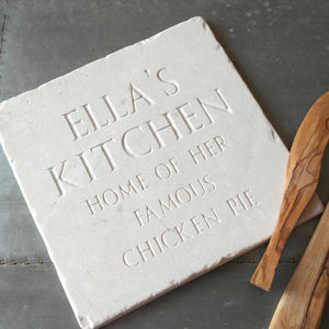 Personalised White Marble Trivet - kitchen