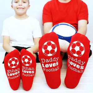 Personalised Daddy And Me Football Sock Set