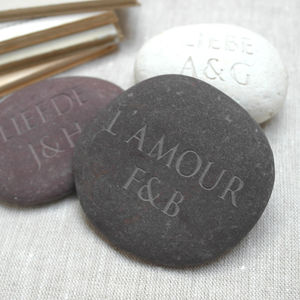 Personalised Language Of Love Pebble - wedding favours