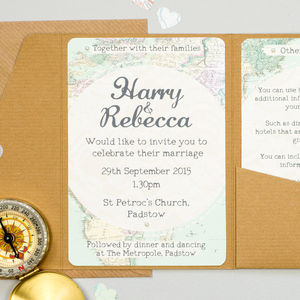Travel Inspired Map Pocketfold Wedding Invitation