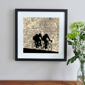 Cycling Silhouette Over Personalised Map - contemporary art