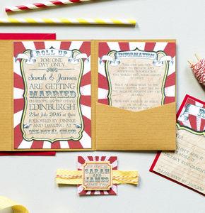 Circus Festival Pocketfold Wedding Invitation - shop by price