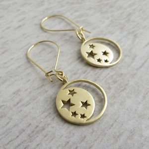 Moon And Stars Earrings - earrings