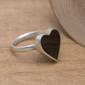 Heart Ring In Rose Wood And Silver