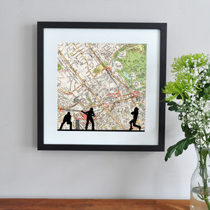 Personalised Cricket Map Print - contemporary art
