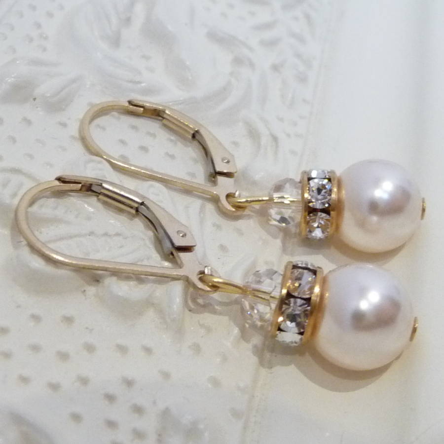 a2f1316dddcf6f crystal rondelle and pearl leverback earrings by katherine swaine ...