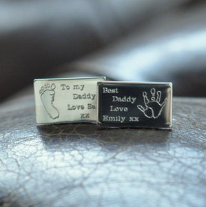 Engraved Print Silver Cufflinks