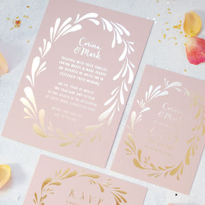 Flower Crown Foiled Wedding Invitation - wedding stationery