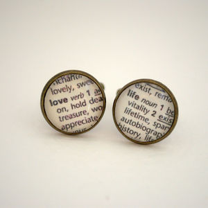 Love Life Vintage Dictionary Words Cufflinks
