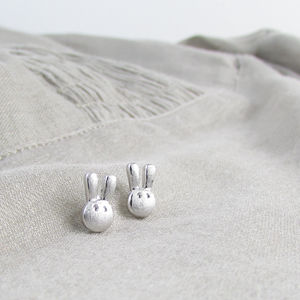 Sterling Silver Flopsy Bunny Ear Studs - earrings