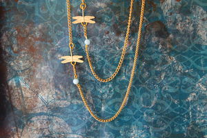 Gold Plated Dragonfly Charm Necklace