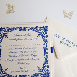Simple Blue Wedding Invitation With Floral Border