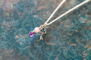 Silver Key Charm Necklace With Amethyst - women's jewellery