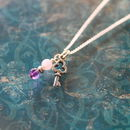 Silver Key Charm Necklace With Amethyst