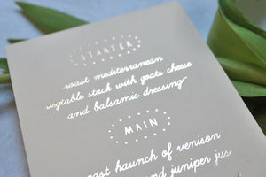 Spotlight Foiled Wedding Menu