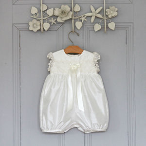 Girls Christening Romper Lucy