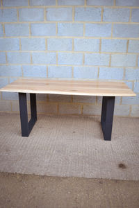 Vivente Oak Slab Dining Table With Square Legs