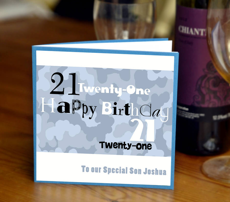Personalised Boys 21st Birthday Card