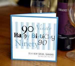 Personalised Mens 90th Birthday Card