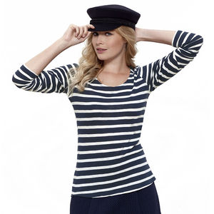Women's Striped Long Sleeve Organic Top - tops