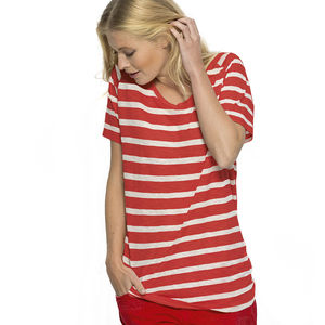 Women's Organic Striped T Shirt - summer clothing