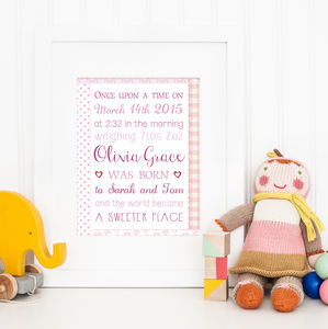 Personalised New Baby Patchwork Birth Story Print - pictures & prints for children