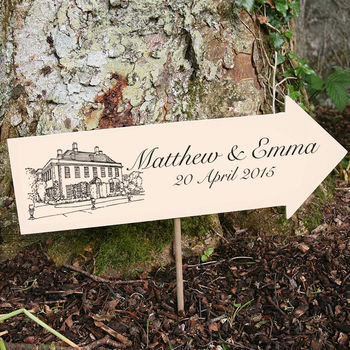 Directional Wedding Illustration Sign from Letterfest