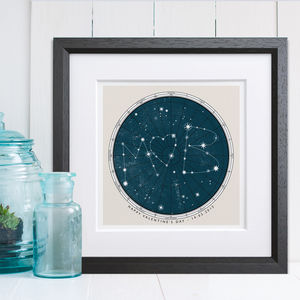 Personalised Star Map Print - 1st anniversary: paper
