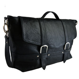 Handcrafted Black Leather Midi Satchel - shoulder bags