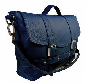 Marine Blue Leather Classic Satchel - cross-body bags