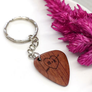 Personalised Wooden Heart And Initial Plectrum Keyring