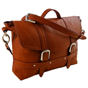 Handcrafted Tan Midi Leather Satchel - satchels