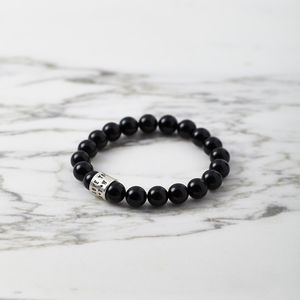 Personalised Black Agate And Silver Bead Bracelet - men's jewellery