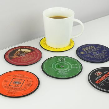 Set Of Six Vinyl Record Coasters Albums, Lp's