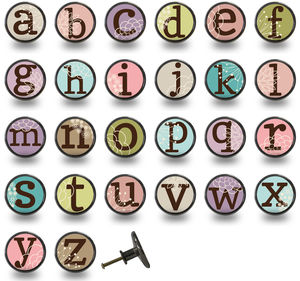 Alphabet Letter Colourful Cupboard Knobs - door knobs & handles