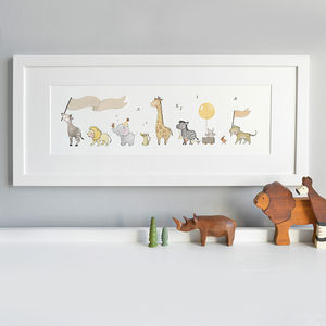 Framed Safari Parade Print - mixed media pictures for children