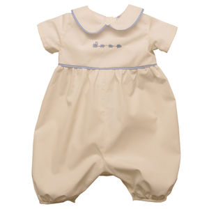 100% Cotton Trains Romper - christening wear