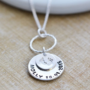 Sterling Silver New Baby Necklace - gifts for new parents