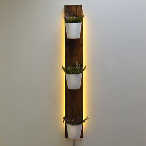 Backlit Oak Vertical Planter