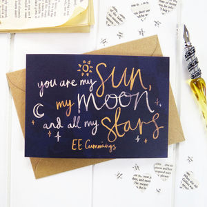 Sun, Moon And Stars Valentines Card