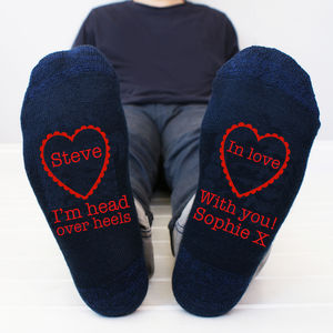 Personalised 'Head Over Heels' Men's Socks