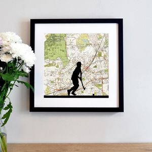 Personalised Hockey Player Map Print