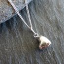 Puffed Heart Silver Pendant And Chain