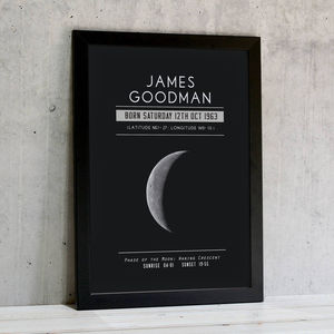 Personalised Moon Phase Significant Date Print - gifts for him sale