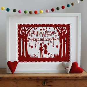 Personalised 'Always Love You' Art Print Or Papercut - posters & prints
