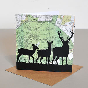 Deer Card With Richmond Park Map - all purpose cards