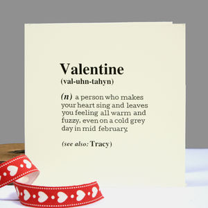 Personalised 'Valentine' Definition Card. Cream - valentine's cards