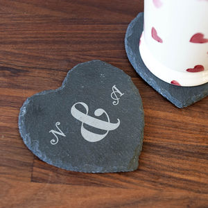 Ampersand Slate Coaster - love tokens for her