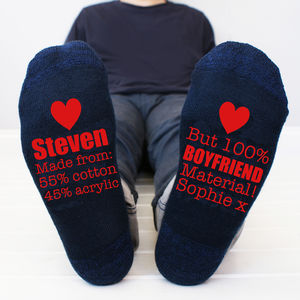 Personalised 'Boyfriend Material' Men's Socks