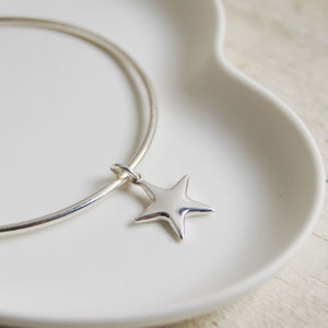 Sterling Silver Bangle With Star Charm - bracelets & bangles